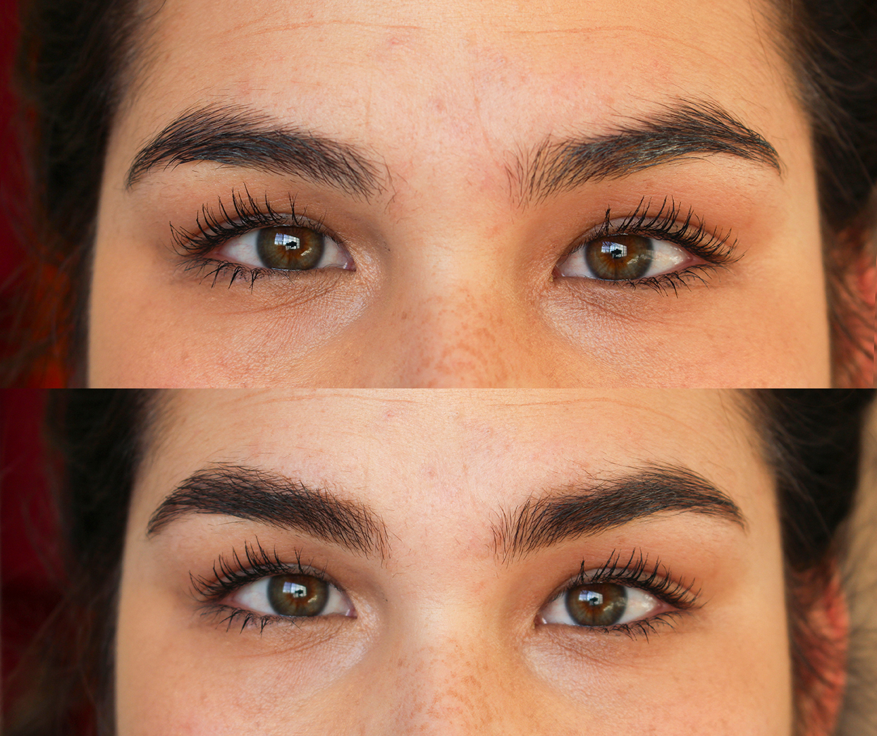 Top: bare brows, Bottom: with Boy Brow